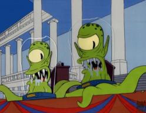 Kang y Kodos, los extraterrestres de los Simpson, en el debate electoral